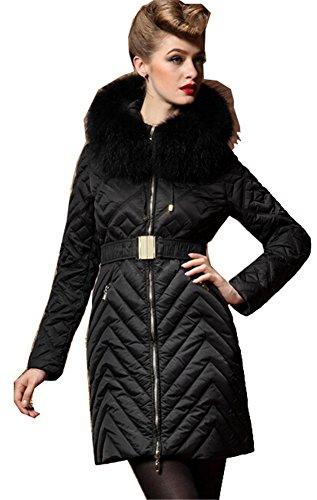 Fengbay Womens Winter Fur Collar Long Slim Padded Coat With Belt