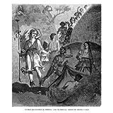 Grabado antiguo (1864) - Xilografía - Pompeya.- Casa De Próculo : Fresco De Ariadna Y Baco (17.5x15), Minne