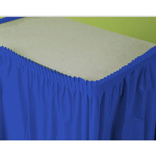 "Amscan Pleated Rectangle Plastic Table Skirt In Solid Color Design, 14' x 29"", Royal Blue"