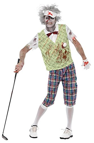 Smiffy's Men's Zombie Golfer Costume Top Golf Ball and Bow Tie Trousers Glove