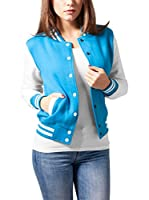 Urban Classics Chaqueta Ladies 2-tone College Sweatjacket (Turquesa / Blanco)