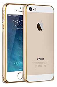 SDO Luxury Dual Tone Arc Edge Screwless Metal Bumper Case Cover for Apple iPhone 5 5S (Gold)