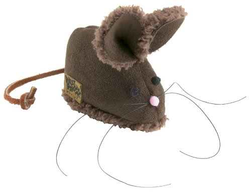 West Paw Design Barn Mouse Faux-Suede Catnip-Filled Cat Toy with Bell, Espresso