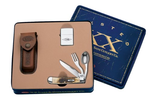 Case Cutlery 06000 Hobo Gift Set with Zippo Lighter and Leather Sheath Stainless Steel Blades Amber Bone