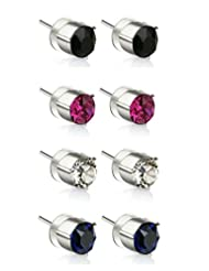 Eclat Brass Rhodium Plated Studs Earrings For Women New Fashion Jewelry (1088SS29COL4P)