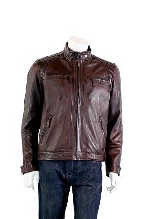 Hommes élégant Biker Jacket - Alvise / brun