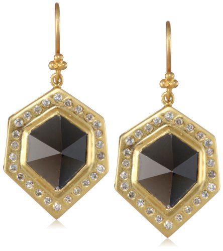 Lauren Harper Collection Midnight 18k Gold, Smokey Topaz and Diamond Pyramid Drop Earrings