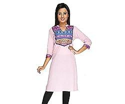 Ecostyle Women's Cotton Kurti (ECKL03_Pink_X-Large)