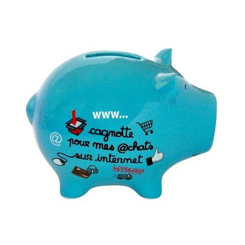 Mignonne, la tirelire cochon bleu pour vos achats internet