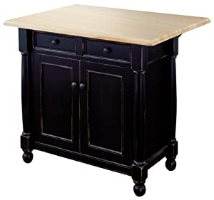 michael scott avalon kitchen cart island with maple drop leaf top antique black. Black Bedroom Furniture Sets. Home Design Ideas