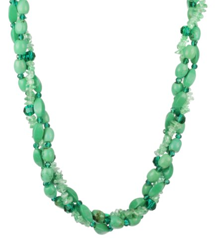 3 Row Turquoise and Apatite Chip with Green Faceted Glass Beads and Gold Tone Clasp Necklace, 18