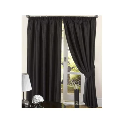 Luxury Faux Silk Slubbed Black Fully Lined Readymade Curtain Pair 90x90in(228x228cm) Including One Pair Of Co-Ordinating...
