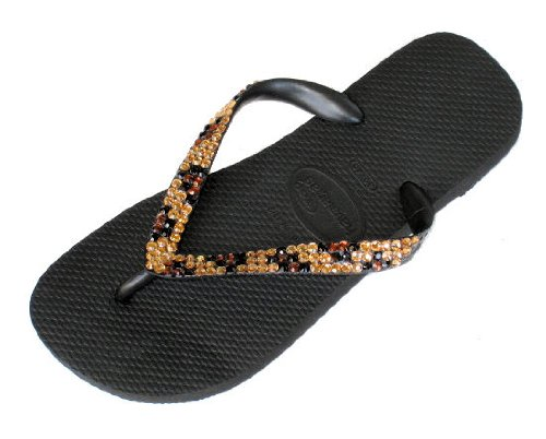 Cheap BLACK LEOPARD Swarovski Crystal Havaianas Flip Flops Sandals Thongs sizes 5-11 (B002H10SDO)
