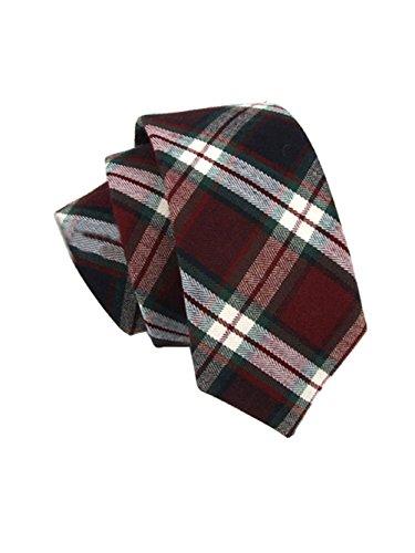 S E Men Classic Stripe Grid Pattern Formal Suit Wedding Party Necktie (Wine Red)