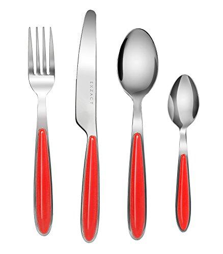 EXZACT EX07 - Colore Posate in acciaio inox set 16 pz - 4 x Forchetta, 4 x Coltelli, 4 x Cucchiai Cena, 4 x Cucchiaini (Rosso x 16)