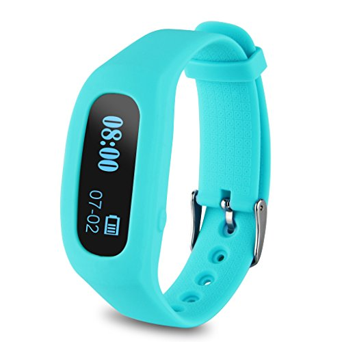 Excelvan OLED Smart Healthy Sport Bracelet Bluetooth V4.0 Wristband with Pedometer/Tracking Calorie/Remote Capture/Sleep Monitoring / Compatible with Android and IOS (Blue)