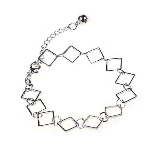 Stylish 925 Silver Personality Square Charm Pendant Chain Anklet Bracelet