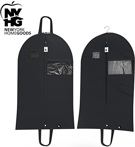 TOP QUALITY (SET OF 2) Breathable 42 Inch Garment Bags, Lightweight, Easy Carrying Shoulder Straps, Window For Viewing, PVC Card Holder, Anti-Moth Protector, Water Res, #5 Zipper, [Updated Version] (Garment Bag Light compare prices)