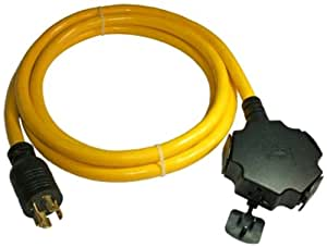 Conntek 20500-010 Generator Power Cord 10-Foot 20 Amp 125/250 Volt 4 Prong Male Plug To (4)15/20 Amp Female Connector