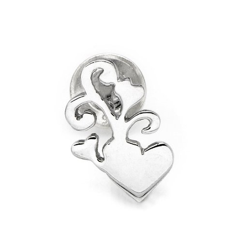 925 Sterling Silver Polished Finish Hibiscus And Heart Single Stud Earring