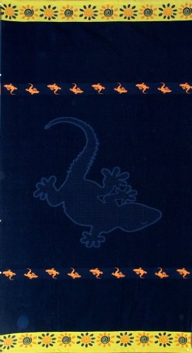 Egyptian Bedding Egyptian Cotton Jacquard Oversized Beach Towel, Navy Lizard