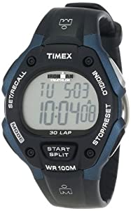 Timex Men's T5H591 Ironman Traditional 30-Lap Black/Blue Resin Strap Watch