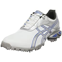 ASICS Women\'s GEL-Linksmaster Golf Shoe,White/Silver/Carolina Blue,10 M