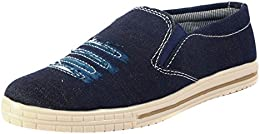 CYRO Mens Blue Canvas Loafers