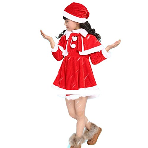 2-piece Baby Girls Kids Christmas Santa Claus Costume Dress + Hat Outfit Set(35-36 inch)