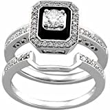 14K White Gold Antique-Inspired Emerald Cut Black Onyx Diamond Wedding Ring Set thumbnail