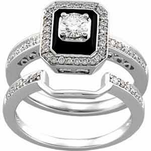 14K White Gold Antique-Inspired Emerald Cut Black