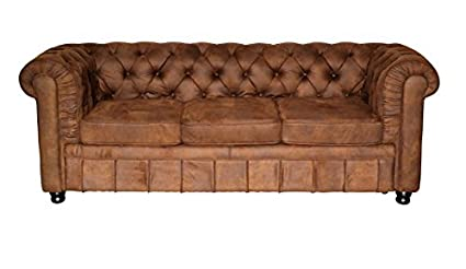 Chesterfield Oxford Sofa 3 Sitzer braun