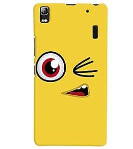 PrintVisa Cute Cartoon yellow Smiley 3D Hard Polycarbonate Designer Back Case Cover for Lenovo A7000