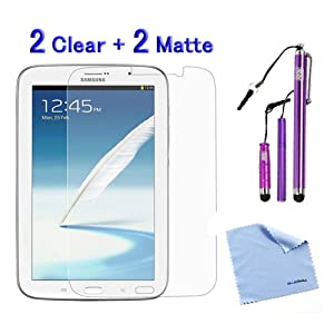 BIRUGEAR 4-Pack Crystal Clear & Anti-Glare Anti-Fingerprint Matte Screen Protector plus Microfiber Cloth, 3pcs Purple Stylus Mix Set for Samsung Galaxy Note 8 GT-N5100 / GT-N5110 8-inch Andriod Tablet