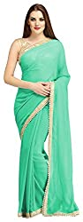 AVSAR PRINTS Women's Georgette Saree with Blouse Piece (Sea Green)