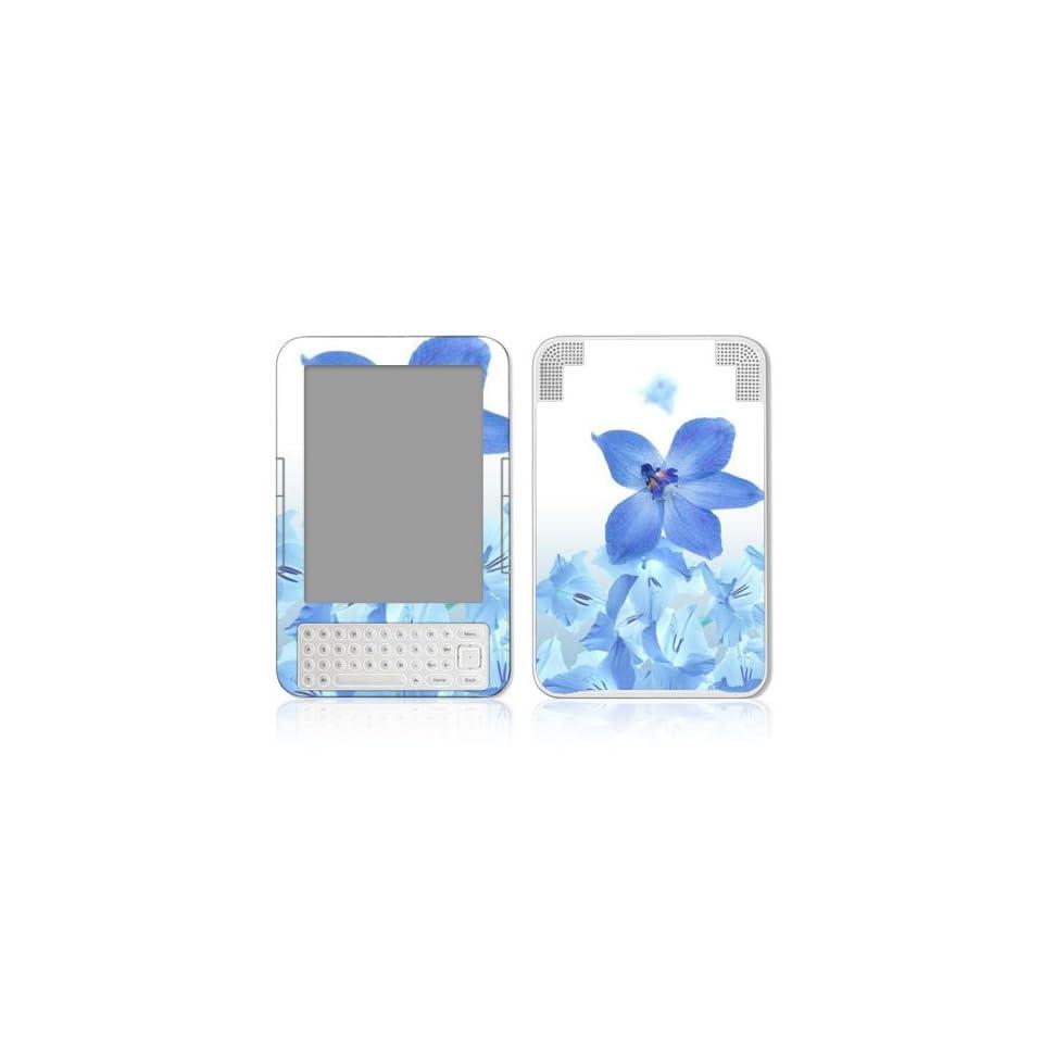 Blue Neon Flower Design Protective Skin Decal Sticker for  Kindle 3 (3rd Gen) Keyboard / Keyboard 3G E Book Reader