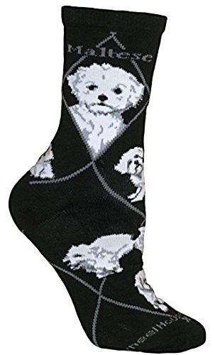 Maltese on Black Ultra Lightweight Stretch Cotton Crew Socks One Size Fits Most