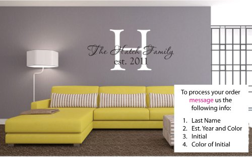Personalized Last Name and Est Date Vinyl Wall Art Vinyl Lettering Vinyl Saying Wall Decal