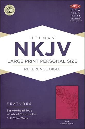 NKJV Large Print Personal Size Reference Bible, Pink LeatherTouch written by Holman Bible Staff