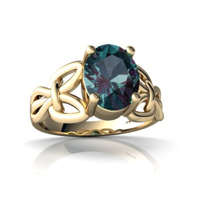 Created Alexandrite 14ct Yellow Gold Celtic Knot Ring