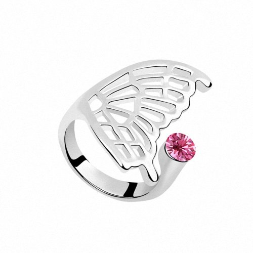 TAOTAOHAS- [ Search Name: Into Butterfly ] Size 9 (1PC) Crystallized Swarovski Elements Austria Crystal Ring, Made of Alloy Plated with 18K True Platinum / White Gold and Czech Rhinestone, Size 9, (Intl. C.:59.5mm, Intl. D.: 18.9mm)