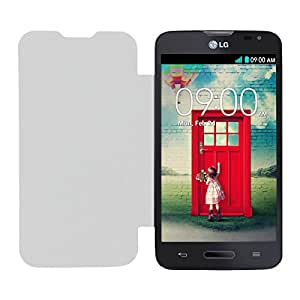 Acm Leather Diary Folio Flip Flap Case For Lg L70 Dual D320 Mobile Front & Back Cover White