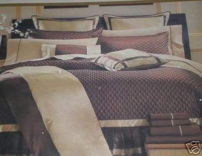 9pc Queen Luxioury Fully Stitched and Reverseable Marron/rust Silky Sateen Bed in a bag Comforter set