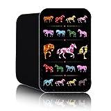 'Retro Pferde' (schwarz) Neopren-Handytasche für BLACKBERRY CURVE 9320 (S) Abdeckung, Täschchen, Abdeckung