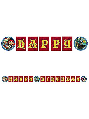 "Jake & the Never Land Pirates ""Happy Birthday"" Banner (8 1/2 Ft. X 7"" ) Plastic - 1"
