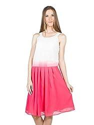Panit Women's Georgette Dress (PANI030_White Pink_Large)