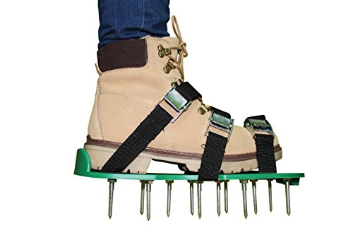 Famy Home Lawn Aerator shoes manual tool - 20 Steel metal spikes and 3 straps on sandals - Easy to use, also for women and heavy duty gardening - Aerating helps seeder and air revitalizing the grass