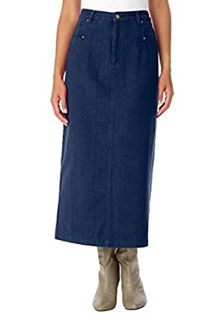 Jessica London Women's Plus Size L-Pocket Long Skirt Indigo,12