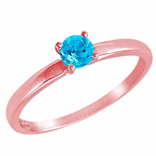 DivaDiamonds 10ct Rose Gold Round Solitaire Blue Topaz Ring (0.45 ctw) - Size L 1/2