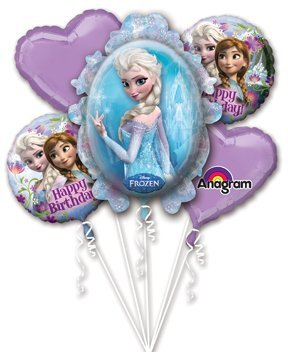Disney Frozen Elsa and Anna Balloon Bouquet Birthday Party Favor Supplies 5ct Foil Balloon Bouquet - 1